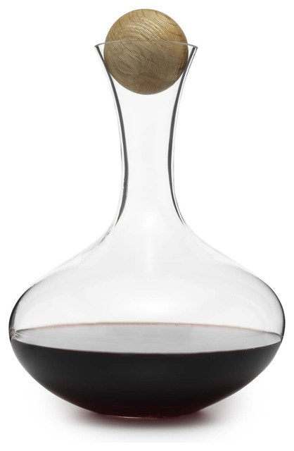 Oval Oak Wine Carafe contemporary-barware