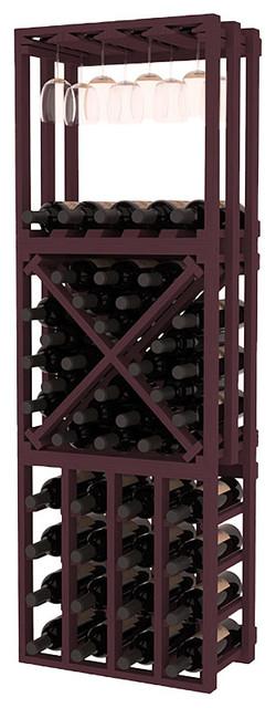 Lattice Stacking Cube - 3 Piece Set in Ponderosa Pine, Burgundy contemporary-wine-racks