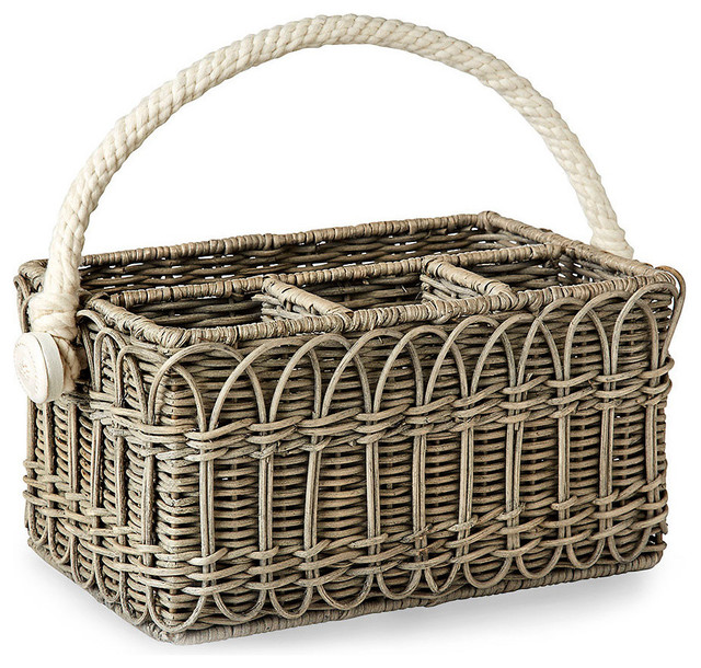 Wicker Utensil Caddy Transitional Baskets By Bliss