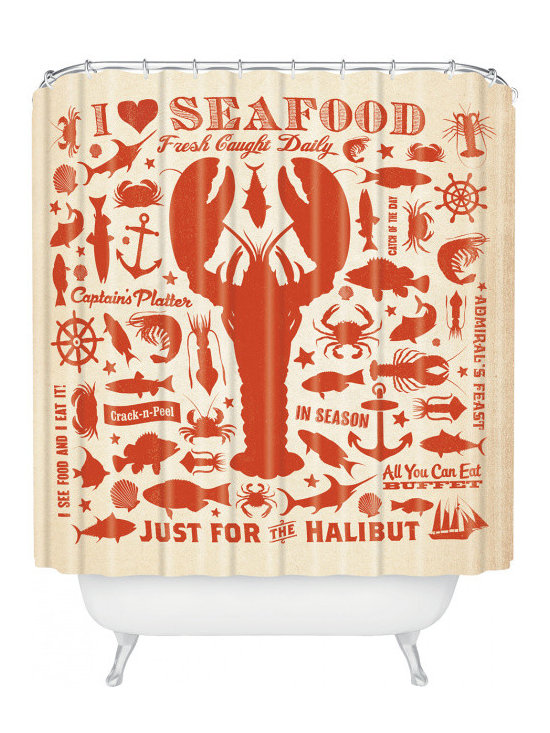 Deny Designs Anderson Design Group Lobster Pattern Shower Curtain