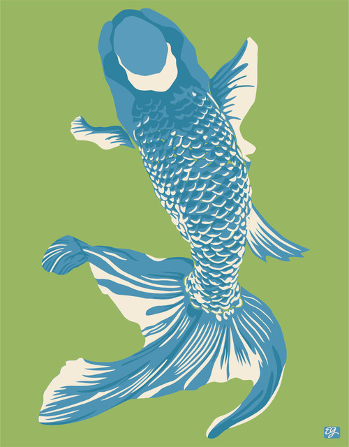 """Wholefish Print, Grass, 20"""" x 30"""" asian-prints-and-posters"""