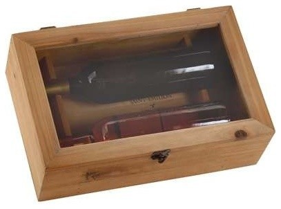 Rectangular Wood Wine Box with a Metal Lock contemporary-wine-racks
