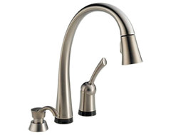 Delta 980T-SSSD-DST Pilar 1-Handle Pull-Down Faucet w/Soap Dispenser (Stainless) modern bathroom faucets