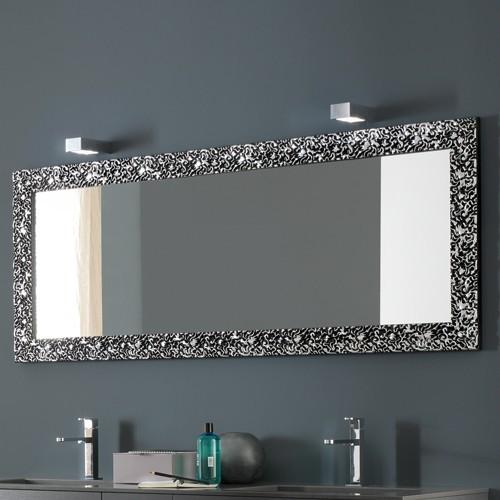 Azzurra riccioli horizontal mirror modern bathroom for Silver framed long mirror