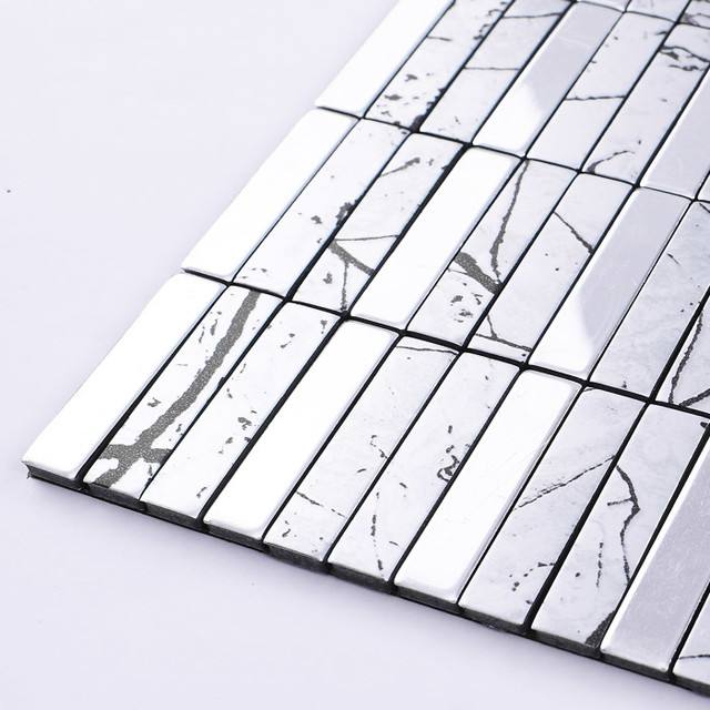 metallic mosaic tile aluminum panel wall stickers strip