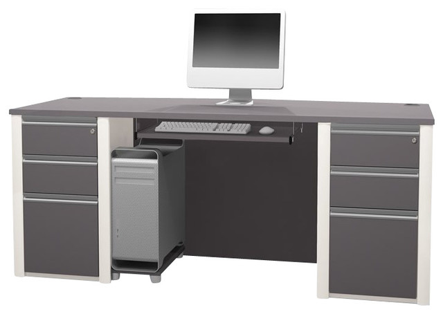 Bestar Connexion Executive Desk Kit with 2 Assembled Pedestals in Sandstone transitional-desks-and-hutches