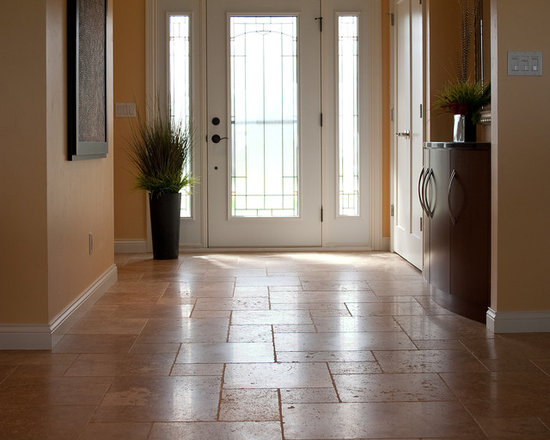 """Considering Carpet? Roll Out the Stone Instead! - Entrance.  NSVI """"Windsor"""" stone travertine floor."""