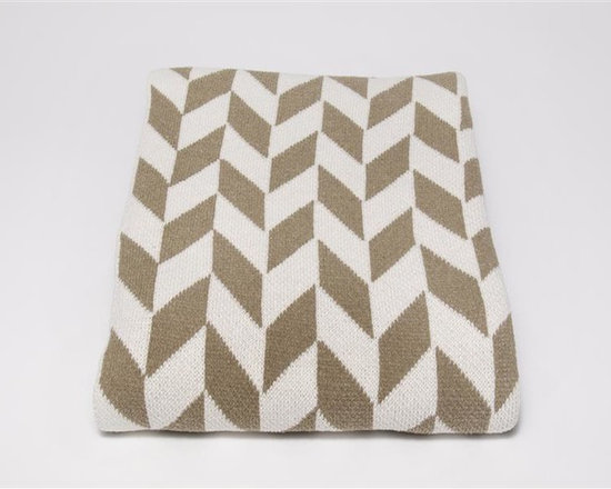Eco Chevron Throw Blanket-Khaki -