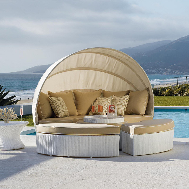 White Baleares Outdoor Daybed - Frontgate, Patio Furniture ...