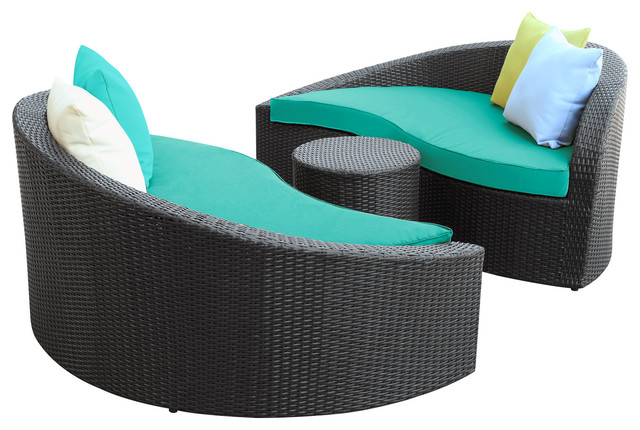 Magatama 3 Piece Outdoor Patio Chaise in Espresso Turquoise modern-outdoor-chaise-lounges