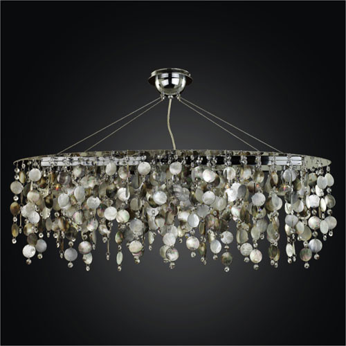 Midnight Pearl Five Light Chandelier With Mother Of Pearl Shell And Crystal Contemporary