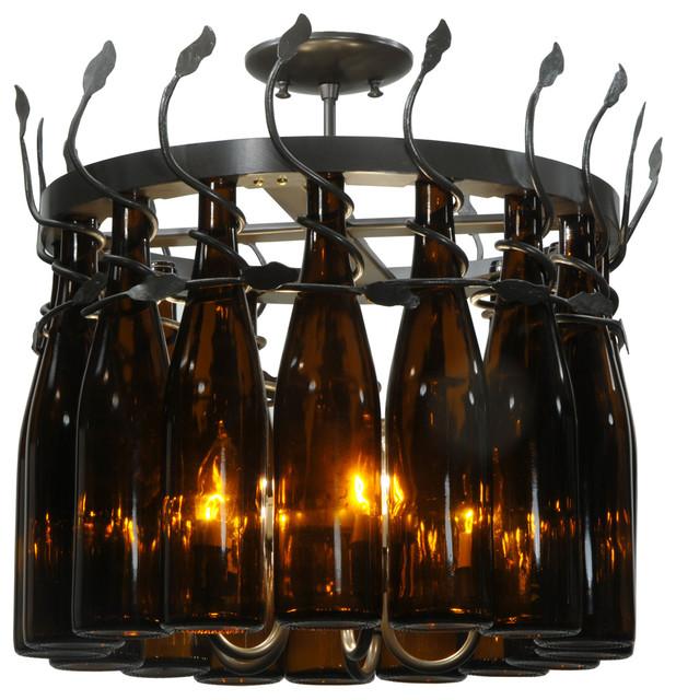 Tuscan vineyard wine bottle chandelier contemporary chandeliers by lighting front - Wine bottles chandelier ...