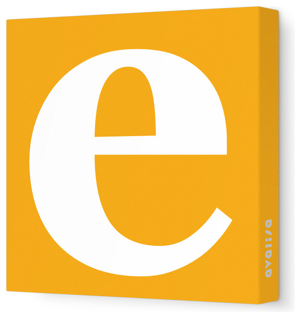 """Letter - Lower Case 'e' Stretched Wall Art, 28"""" x 28"""", Orange contemporary-artwork"""