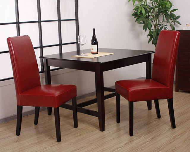 Leather Dining Chairs Burnt Red Set Of 2 Contemporary Dining Chairs B