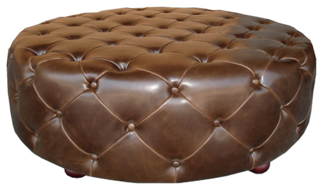 addison round ottoman 47 brown leather traditional footstools and ottomans. Black Bedroom Furniture Sets. Home Design Ideas