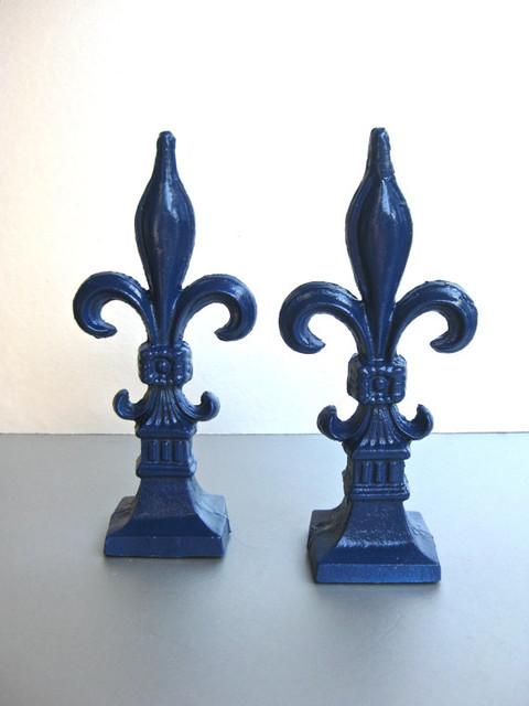 Fleur de lis finials bookends royal blue by swede13 traditional bookends by etsy - Fleur de lis bookends ...