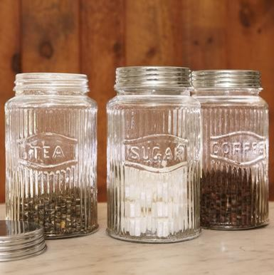 Vintage glass containers mature milf for Glass jar kitchen ideas