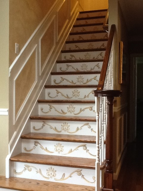 Painted Stair Risers Traditional Staircase New York