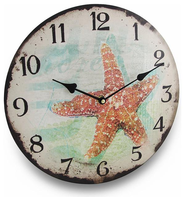 Weathered look starfish round nautical wall clock 13 in for Seashell wall clock