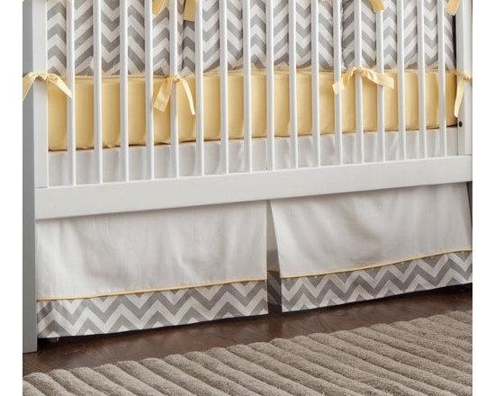 Gray and Yellow Zig Zag Crib Skirt -