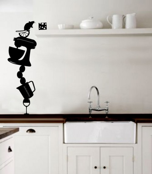 Kitchen wall stickers decoration idea modern wall for Black kitchen wall decor