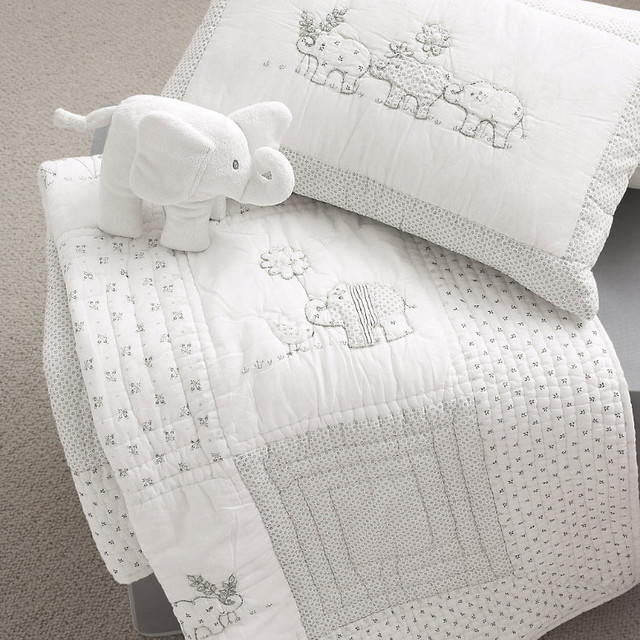 Baby Elephant Quilt & Cushion modern baby bedding