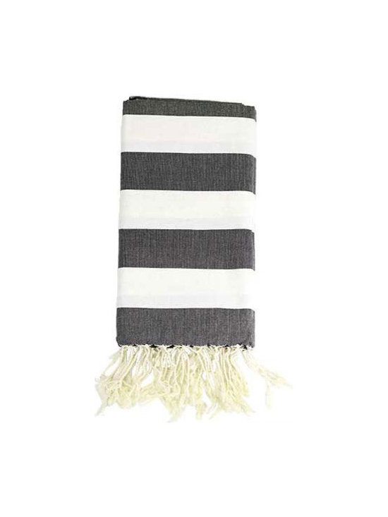 Hammam Towel, Wide Black and White Stripes -