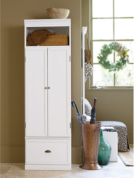 Ballard Designs - Owen Entryway Cabinet - Cabinet top cubby is perfect for Baskets. Bench storage drawer with full extension glides. Crafted of hardwood & veneers. Antique Brass bin pulls, knobs & hooks. Rubbed finishes. With our Owen Entryway Cabinet, you get the finely finished look of a built-in with the flexibility of a modular storage system. Cabinet features double doors that conceal three double hooks for bags and jackets. Three adjustable shelves can be added for extra storage. Bench seat juts out just enough to create a comfortable perch for pulling off wet boots. Benches and Cabinets (sold separately) can be combined to create a custom look. Molding is only on the front, so you can add as many as you need, side by side. Owen Entryway Cabinet features:. . . . .