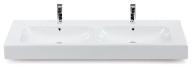 60 Inch Ceramic Double Sink contemporary-bathroom-sinks