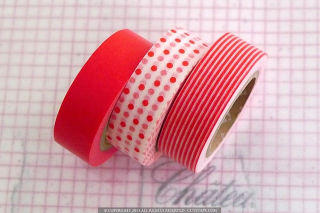 Japanese Paper Washi Tape Mix, Red by Pretty Tape eclectic desk accessories