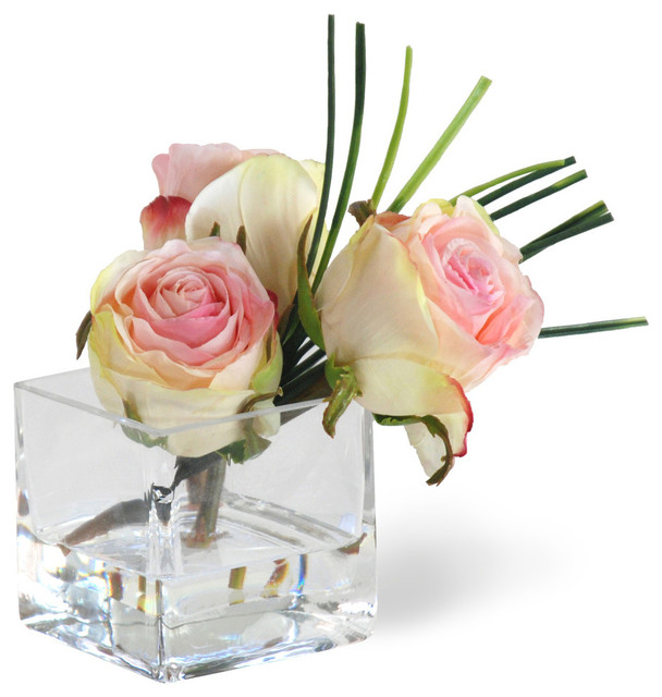 Mini rose pink flower arrangement traditional for Small rose flower arrangement