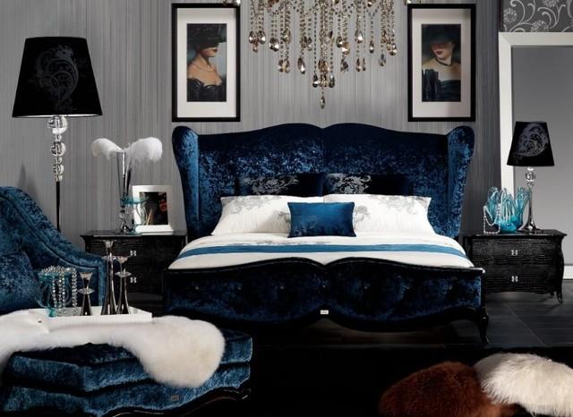 Armani Xavira Blue Teal Velvet Fabric Bed