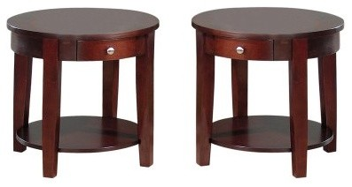 Jofran Surrey Round End Table with Drawer-Set of 2 modern bar tables