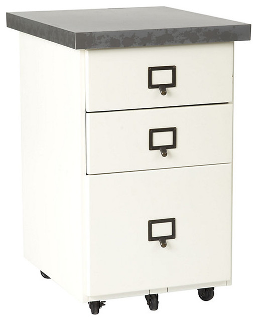 Original Home Office Castered 3 Drawer File Cab with Zinc Top - Contemporary - Filing Cabinets ...