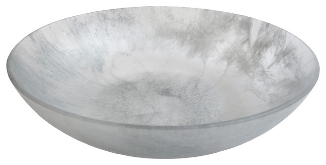 Martha Sturdy resin shallow bowl in silver marble modern-home-decor