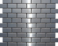 """Stainless Steel Tile 1"""" x 2"""" modern-tile"""
