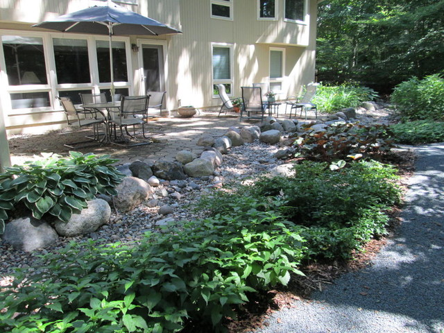 Dry stream bed contemporary-landscape