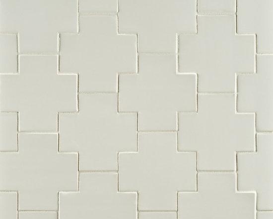"Ceramic - ANN SACKS Gotham 4"" x 4"" swiss cross ceramic field in bright white gloss"
