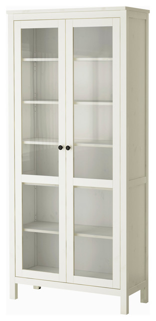 Hemnes Glass Door Cabinet, White Stain - modern - storage units ...
