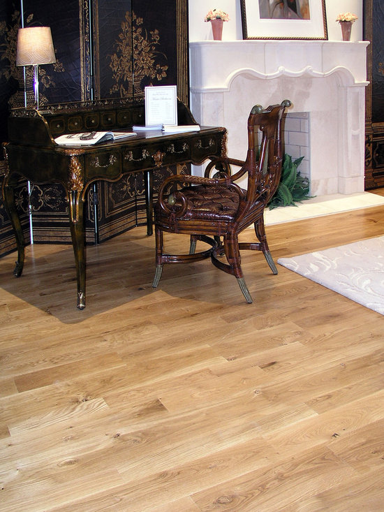 "Private Residences - Estate™ Collection, random lay 3-1/4"", 5"" & 6-3/4"" wide, Vintage French Oak hardwood floor,  hand distressed, site sealed in natural color with Synteco 35 Satin finish."