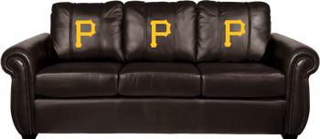 Pittsburgh Pirates MLB Alt Logo Chesapeake BLACK Leather Sofa traditional-sofas