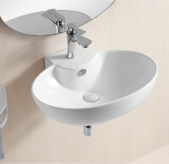 Stylish Bathroom Sinks : Stylish Oval Wall Mounted White Ceramic Bathroom Sink modern-bathroom ...