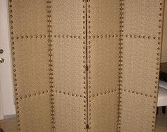Folding Upholstered Screen mediterranean