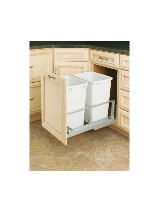 Cabinet Accessories - 35 qt dual trash kit for B18 with full extension soft close slides