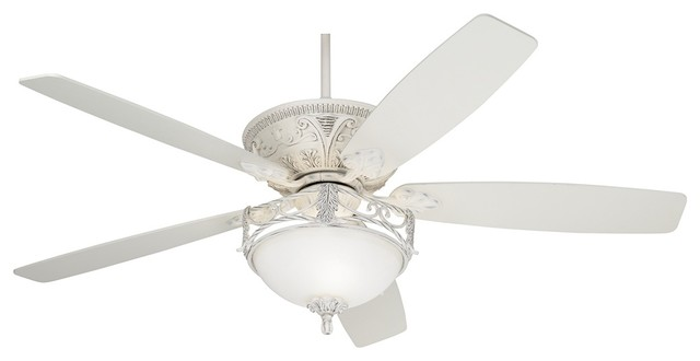 60 Casa Vieja Montego Rubbed White Ceiling Fan With Light
