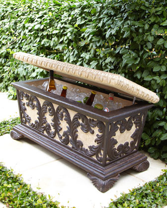Leaf Scroll Bench Cooler traditional-indoor-benches