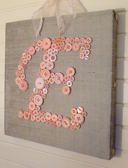 Baby Girl Button Monogram by Letter Perfect Designs contemporary nursery decor