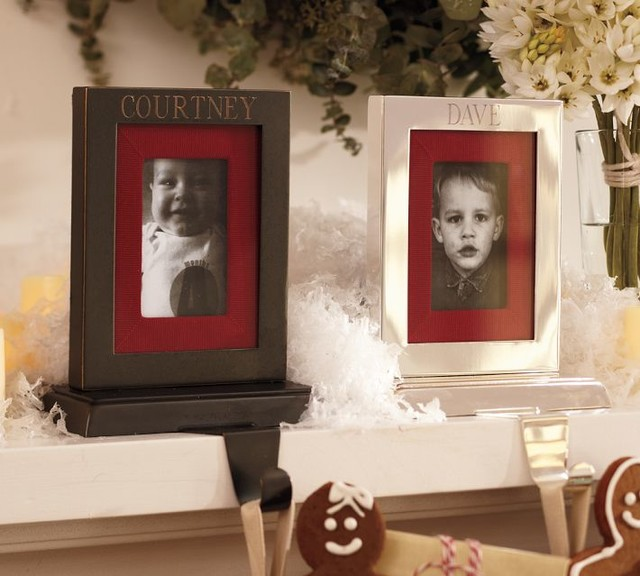 Engravable Frame Stocking Holder contemporary holiday decorations
