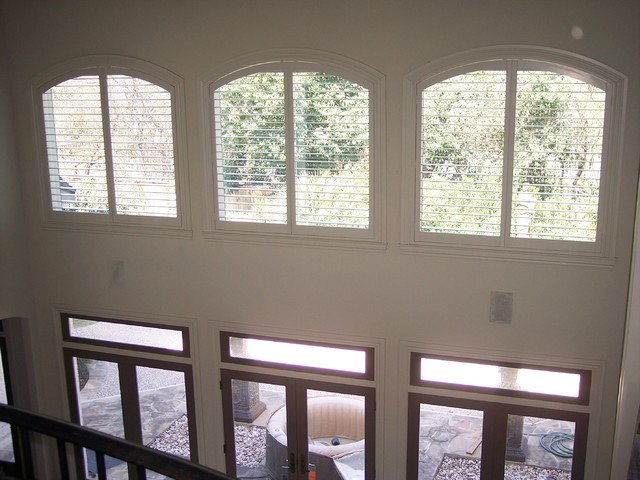 Plantation Shutters In Hard To Cover High Windows