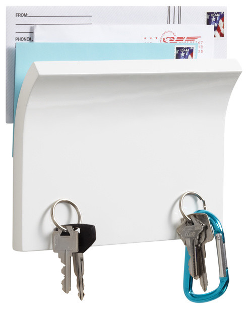 Piano White Magnetter Key & Letter Holder modern storage and organization